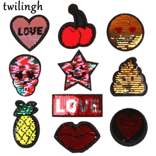 twilingh Patches 1pc Reversible Change Sequins Skull Star Heart DIY Sew On For Clothes Applique Decoration