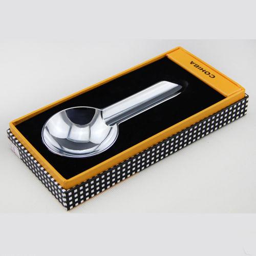 COHIBA Silver Stainless Steel Mini Size 1 Set Portable Travel Cigar Ashtray