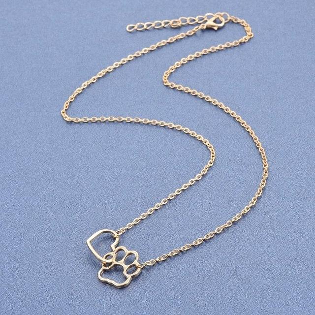 Купить женское ожерелье с подвеской в виде собачьей лапы золотистого картинки