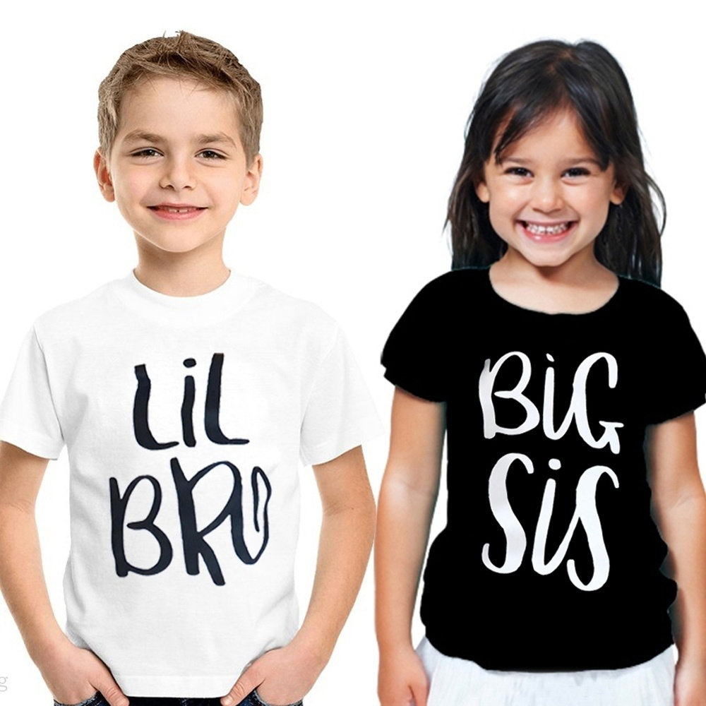 2019 New Sis Bro Matching Clothing Letter T-Shirts Little Brother Baby Boy Cotton T-shirt Big Sister Summer Girls Tee Tops