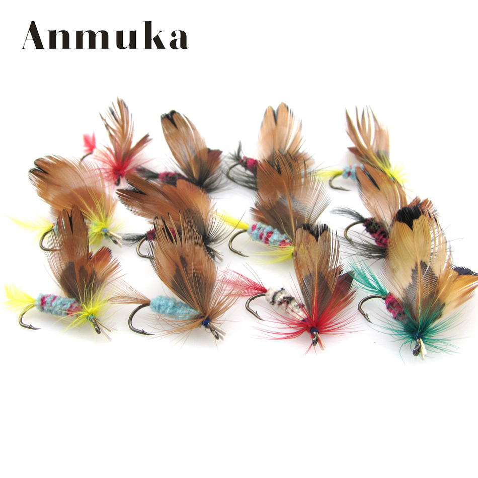 Anmuka 12 pcs/set Butterfly Style Dry Fly Hooks Fishing Trout Salmon  Flies Fish  Fly fishing Hooks  Salmon Trout Single Hook