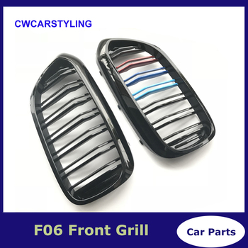 2pcs For BMW 5 Series G30 G38 2018 Gloss Black M Color Front Kidney Double Slat Line Car Grill Grille Car-styling