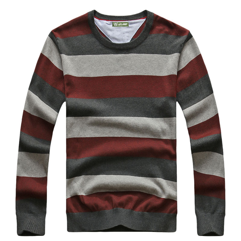 2017 CLOTHES Autumn Pullover Striped Knitted Sweater Brand-Clothing Mens Cotton O-Neck Sweater Men Casual Fashion Outlet New