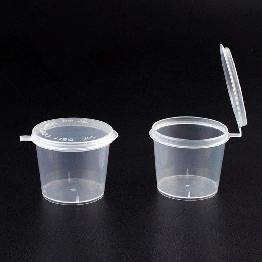 100 Pcs <font><b>25ml</b></font>/40ml Plastic Sauce Cups Food Storage <font><b>Containers</b></font> Clear Boxes image