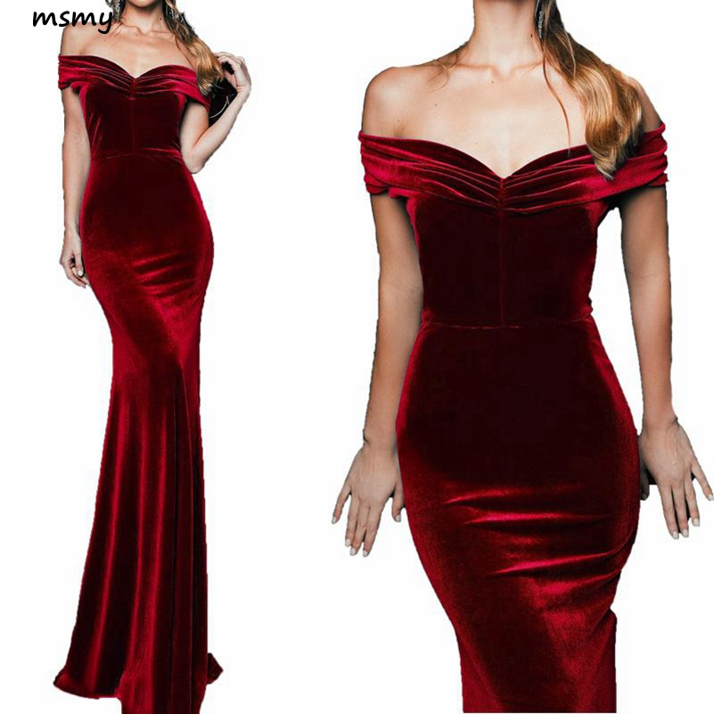 2019 Sexy Long Mermaid Velvet Evening Dresses Off The Shoulder Formal Prom Party Gown Floor Length Zipper Back