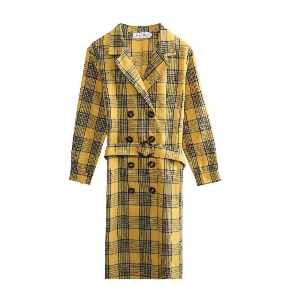Giallo Coat colore Per Le Nuovo Formato Verde Xxxxl Più Plaid Di Donne L'autunno Trench DIE9W2H