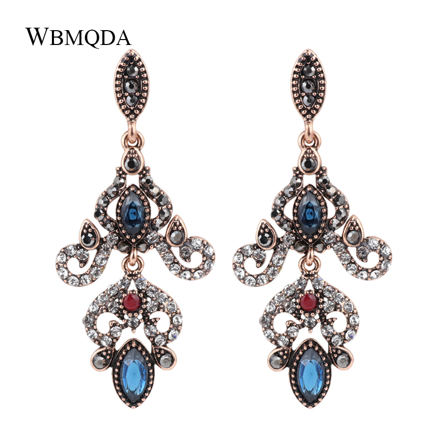 Wbmqda Luxury Turkey Big Pendant Earrings For Women Ancient Gold Color Crystal Earrings Vintage Jewelry 2018 New Drop Shipping Furniture