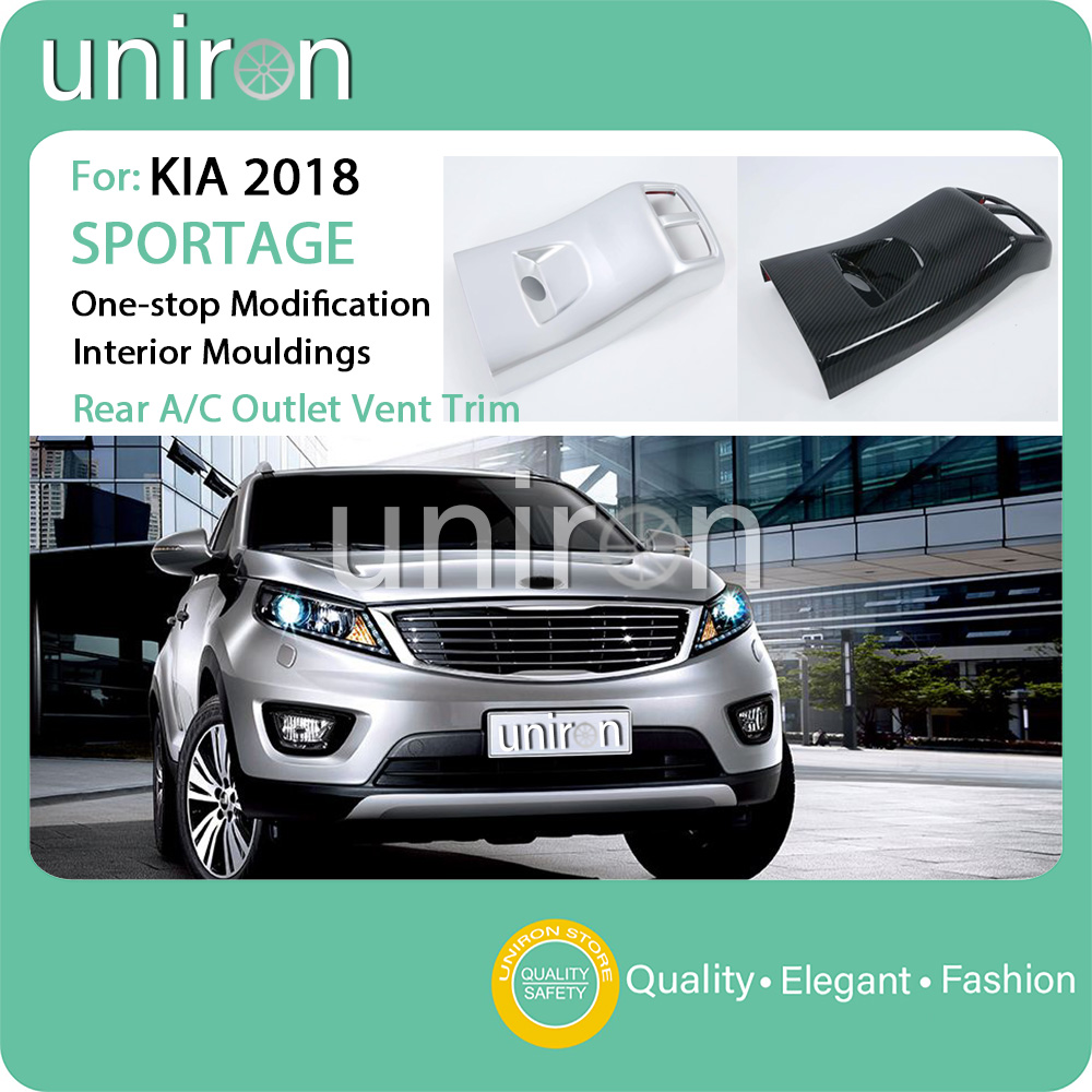 Uniron Car Styling Interior Accessories Rear Air Conditioner Outlet Vent Trim Cover ABS Chrome Frame for KIA SPORTAGE R 2018 19