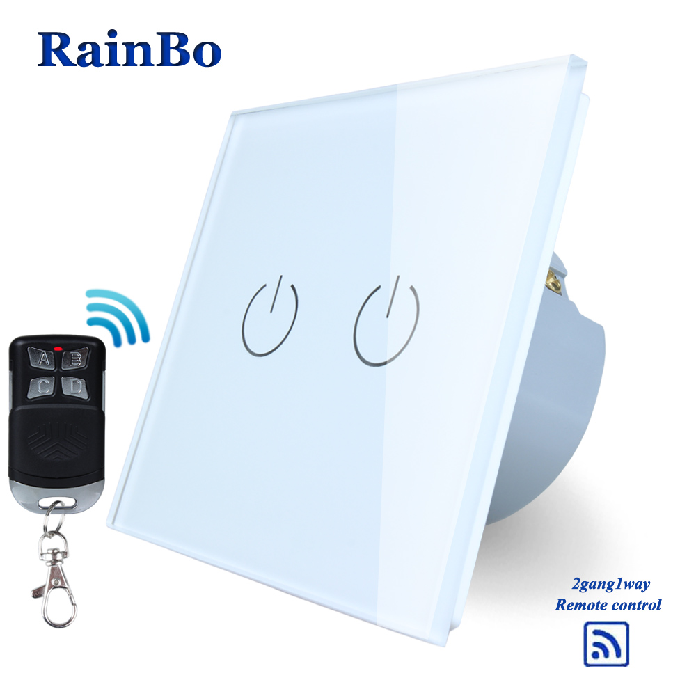 RainBo Crystal Glass Panel Switch EU Remote control Wall Switch AC250V Touch Switch Light Switch 2gang1way LED lamp A1923W/BR01RainBo Crystal Glass Panel Switch EU Remote control Wall Switch AC250V Touch Switch Light Switch 2gang1way LED lamp A1923W/BR01