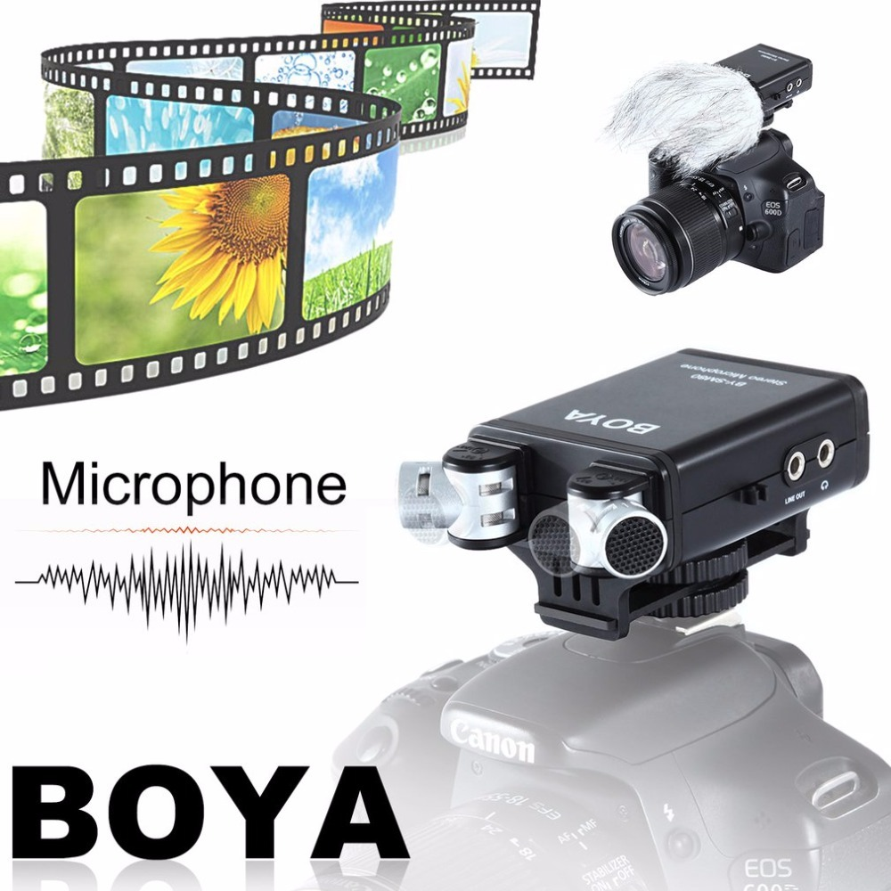 BOYA BY-SM80 Stereo Condenser Video Microphone With Windshield For Canon For Nikon For Sony DSLR Camera Microphone Camcorder boya by sm80 stereo video microphone with windshield for canon for nikon for sony dslr camera microphone camcorder