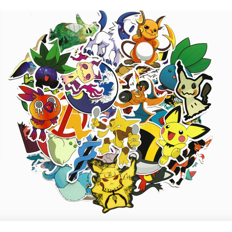 45pcs/set Game Pokemon Go Pikachu Sticker Cosplay Prop Accessories Bulbasaur PVC Decal Waterproof Cartoon Collect Stickers