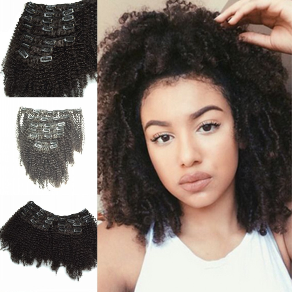 8a Mongolian Afro Kinky Curly Clip In Hair Extensions 7pcs 120g 4b