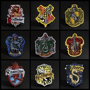2019 New Magic Academy Badge Patches for Clothing Iron On Ravenclaw Gryffindor Slytherin Hufflepuff Diy Stickers(China)