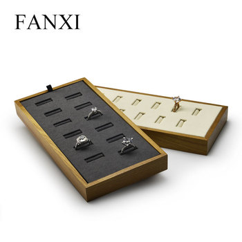 FANXI New Beige & Dark Gray Wooden Jewelry Display Tray with Microfiber insert Pendant Chain Stand Holder Ring Organizer