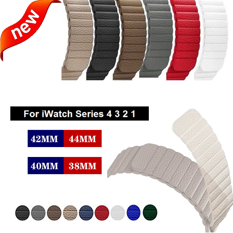 Magnetic Genuine Leather Loop Strap For Apple Watch Band 38/ 42mm&for Apple Watch 4 44/40mm Band Bracelet For Iwatch Serie 3 2 1