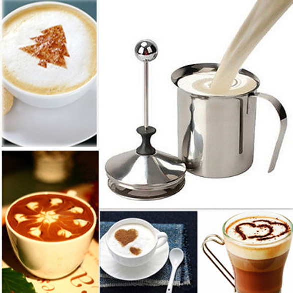 LS4G 400ML Stainless Steel Double Mesh Milk Frother Milk Foamer Milk Creamer Kitchen Tool Free Shipping