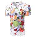 Nuevos hombres de la llegada 3d de diseño de moda colorido fruta camiseta ocasional masculina de manga corta slim fit top clothing camisetas de alta calidad