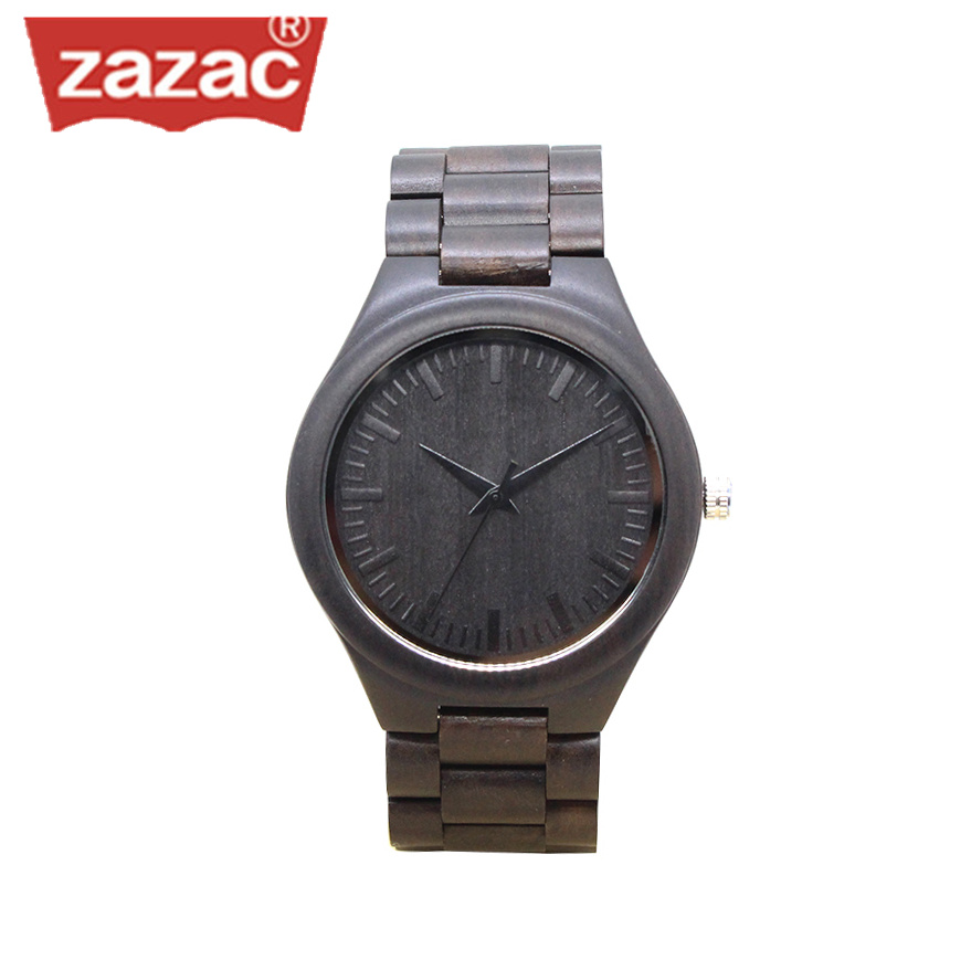 Brand Zazac Natural Black Sandalwood Analog Men Watch WOOD Japan Quartz Movement Wooden Watches classic Dress Wristwatch Unisex bobo bird brand new sun glasses men square wood oversized zebra wood sunglasses women with wooden box oculos 2017