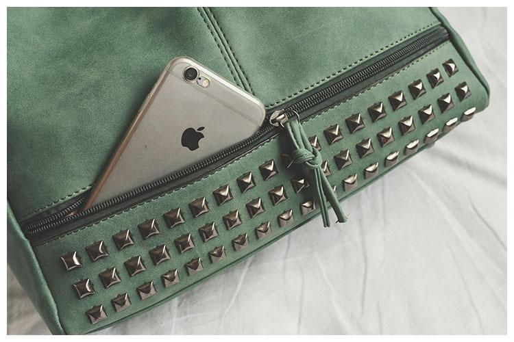 Vintage sacs à main en cuir PU avec rivets