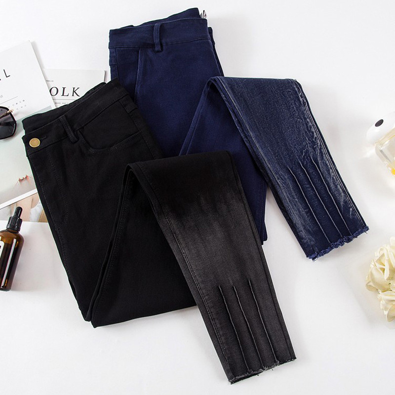 Plus Size 4XL Stretch High Waist   Jeans   Woman Pantalon Femme Vintage Pencil Pants Long Trousers Women Black Skinny   Jeans   C4194