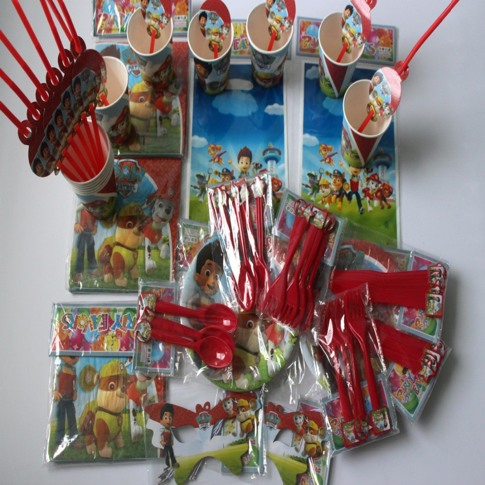 116pcs Dog Patrol Cartoon Birthday Decorative Party Event Supplies Favor Items For 12 People Kids Decorations
