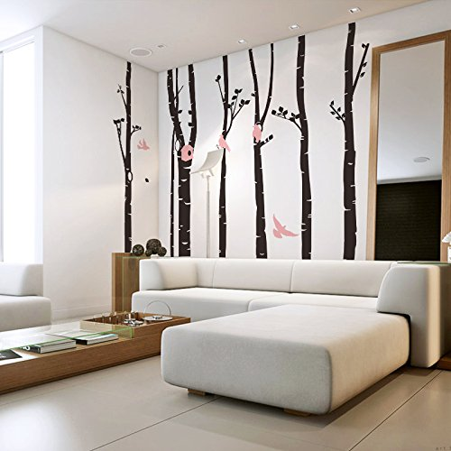 где купить 246 * 230 Birch Tree Wall Decal Forest With Snow Birds And Deer Vinyl Sticker Removable Wall Decor Large Tree Wallpaper по лучшей цене