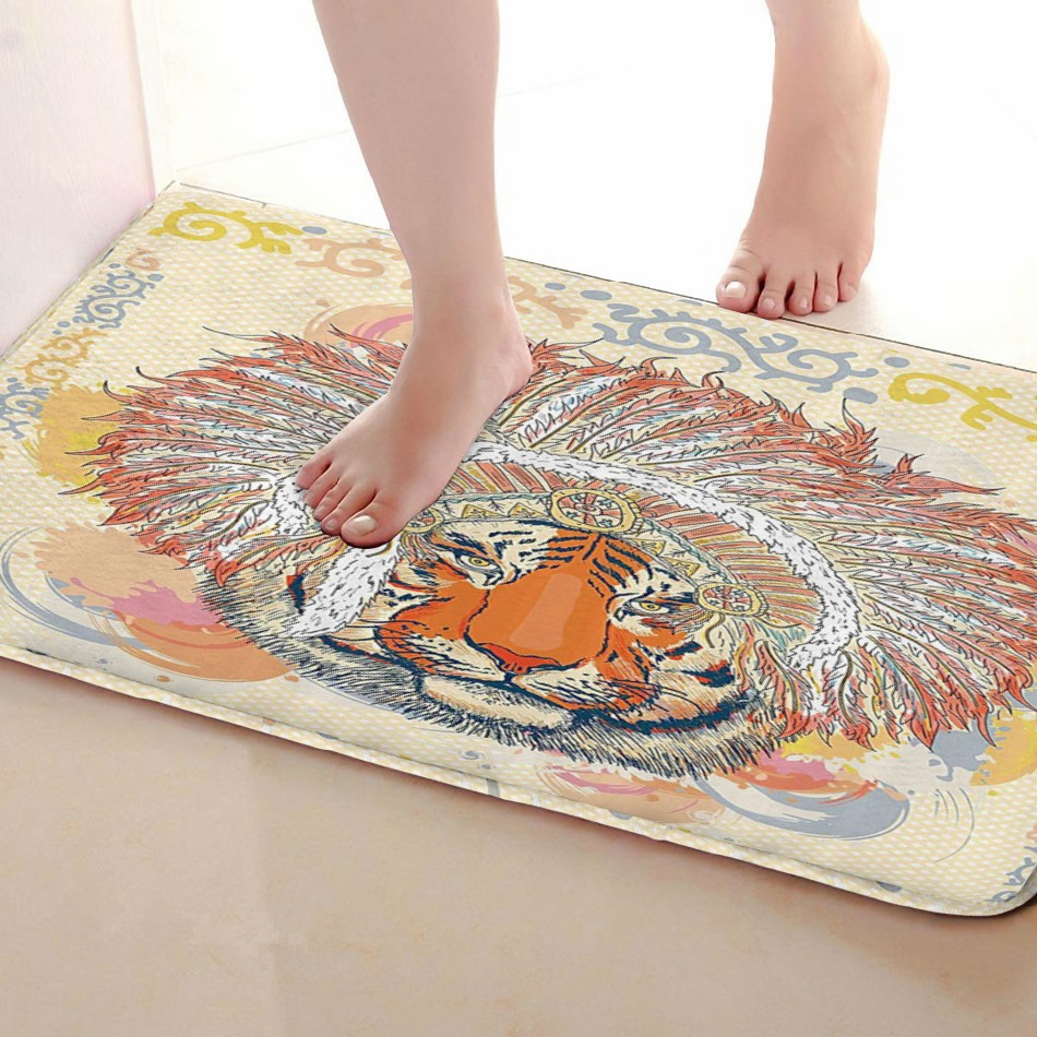 Tiger Style Bathroom Mat,Funny Anti Skid Bath Mat,Shower Curtains Accessories,Matching Your Shower Curtain