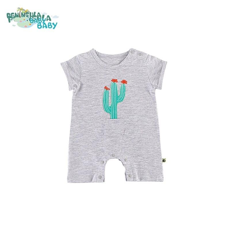 Nowonarodzone chłopcy Romper Summer Baby Boy Girl Cartoon Rośliny - Odzież dla niemowląt - Zdjęcie 1