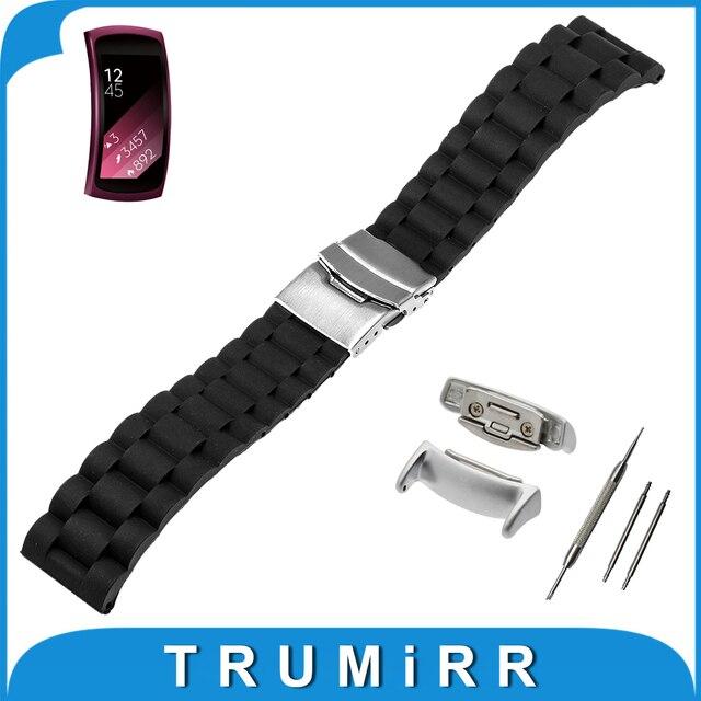 18mm de caucho de silicona correa + adaptadores para samsung gear fit 2 sm-r360 corchete venda de reloj de acero inoxidable correa de pulsera de resina
