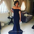 Delicado azul da dama de honra vestido sereia fora do ombro Plus Size vestidos até o chão vestido de dama de honra