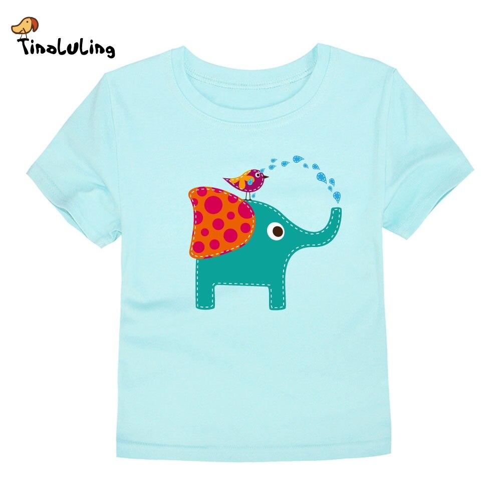 TINOLULING 2018 Elephant Boys Girls T-Shirt Children T Shirt Cotton Short Sleeve Tees Summer Boy Girl Tops For 2-14 Years