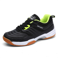 Leather New Badminton Shoes Men Lace Up Badminton Training Sneakers Sport Sneakers White Black Men's Shoes