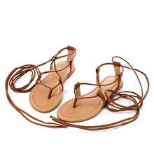 цена на 2019 Summer Roman Sandals Multiple Cross-strap Tall Knee High Bondage Thong Nubuck Women Sandals Flip Flops Black Apricot