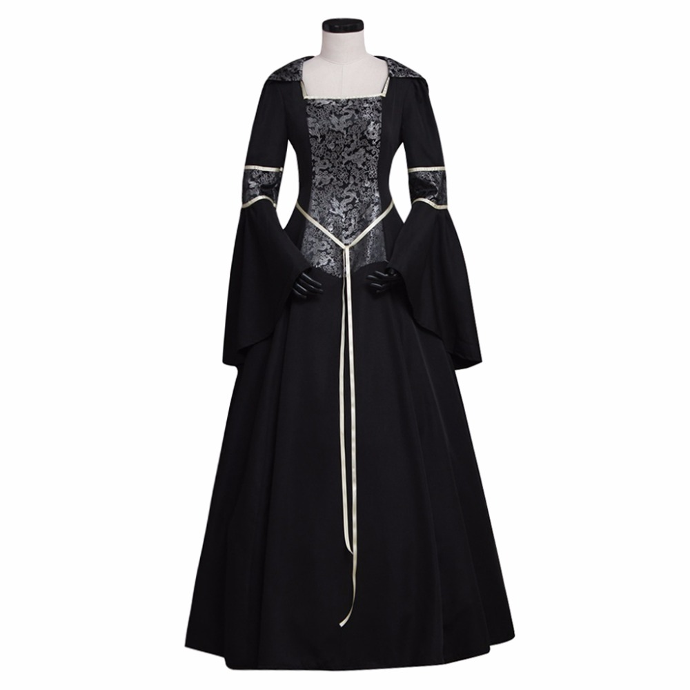Adult's Renaissance Costume Black Hoodie Victorian Dress Women Printing Dress For Halloween Carnival Vampire Party Dress