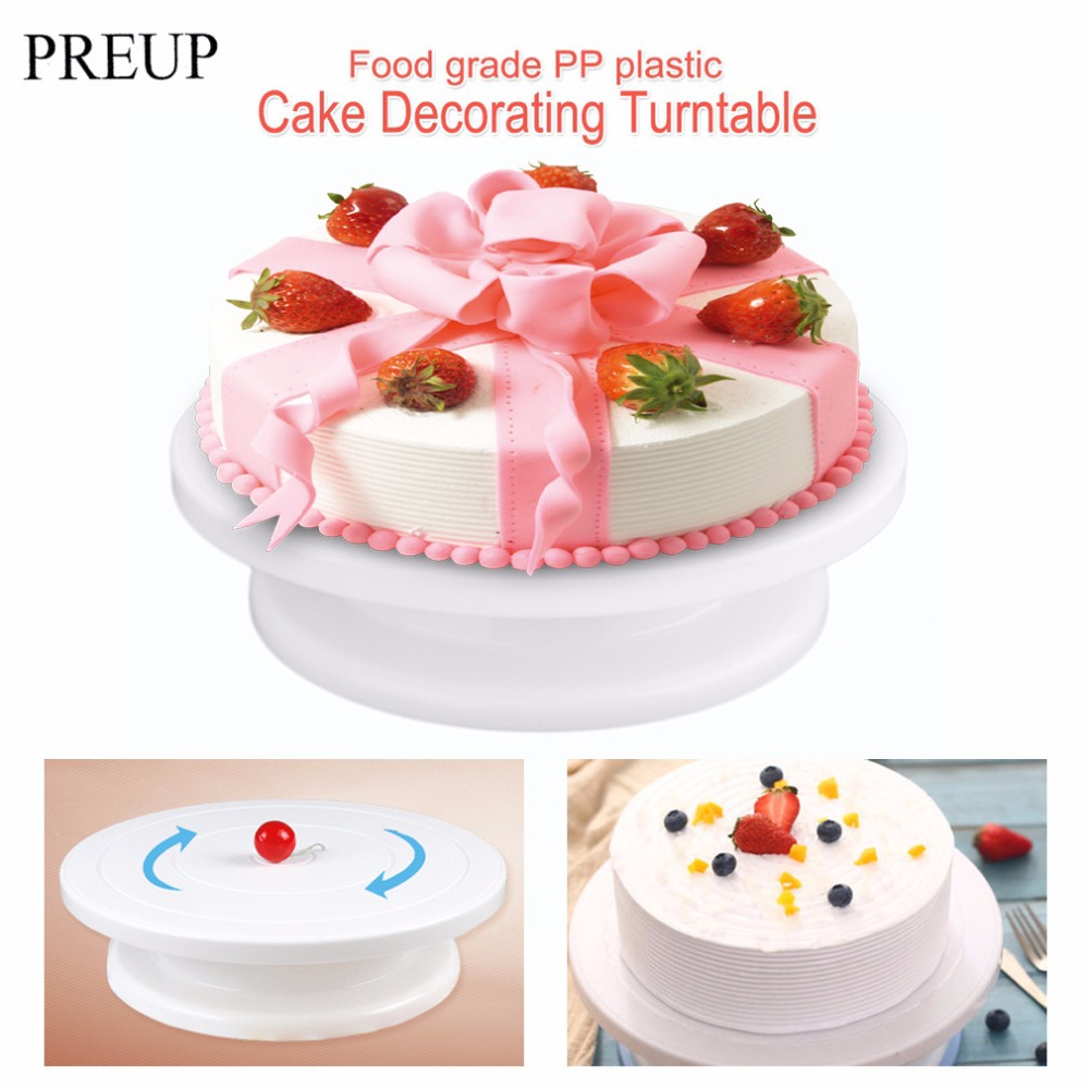 282865cm cake decorating plastic turntable round cake stand table rotating disc - Wholesale Cake Decorating Supplies