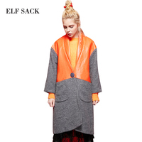 Elf SACK P Clacke For Winter Loose Vent PU Colorant Match Wool Coat Outerwear Female Long