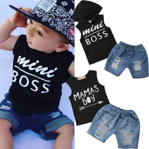 c3f848538 Toddler Baby Boys Hooded Tops Ripped Shorts Clothing Set Babies Boy Summer Outfits  Clothes T-