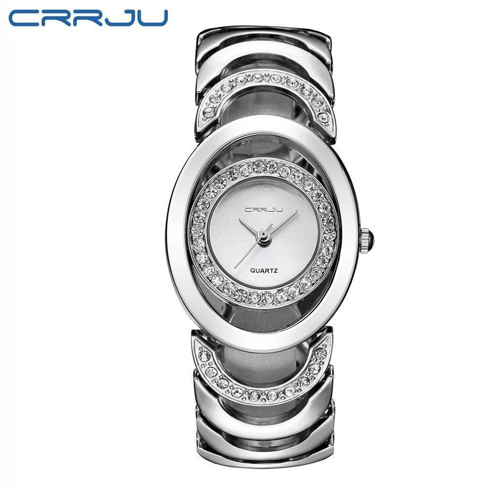Prix pour Crrju strass femmes montres nouvelle mode en acier argent quartz montre dame robe casual bracelet à quartz-montre-bracelet montres