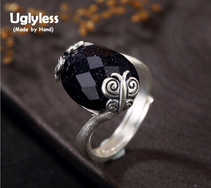 Uglyless Real S 990 Silver Natural Chalcedony Handmade Finger Rings Women Spring Element Butterfly Ring Luxury Oval Gems Jewelry