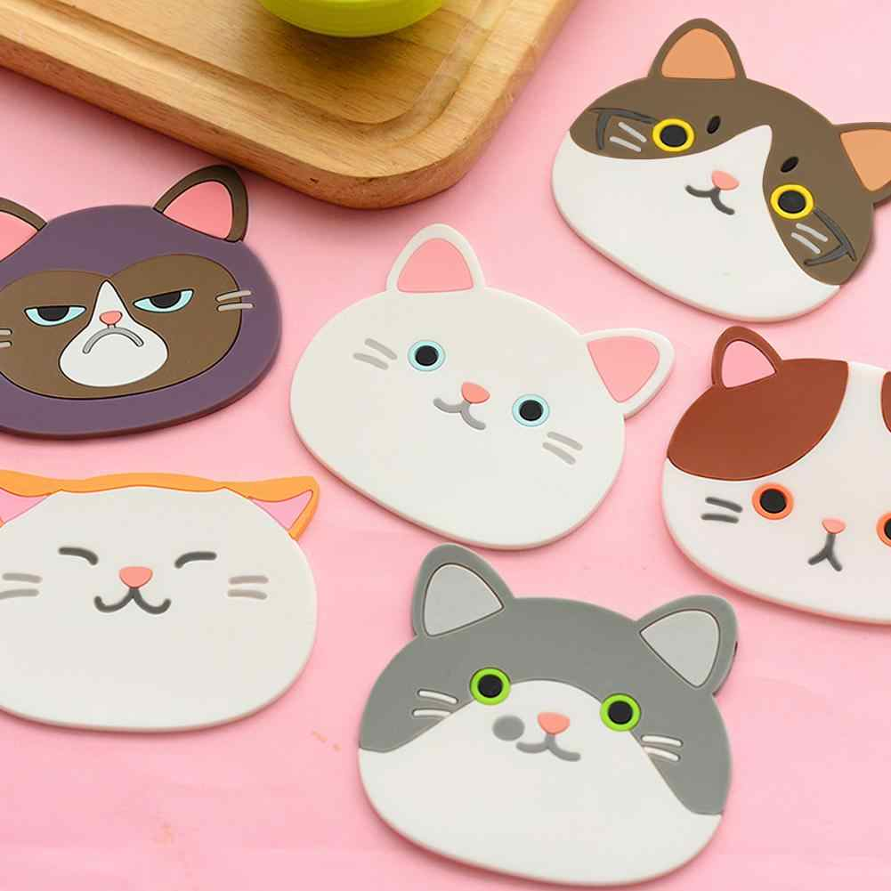 1PC Cute Cat Pattern Silicone Coaster Insulation Placemat Coaster Cup Bowl Heat-resistant Mat Lovely Home Decor Cafe accessory