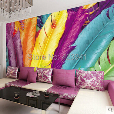 Can customized fresco photo large mural wall 3d wallpaper room Wall covering home decor bedroom porch Abstract color feathers customized home personalized seamless integration of the abstract paintings lotus wallpaper 1x3m
