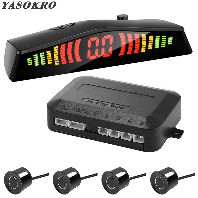 Parktronic détecteur de voiture affichage de LED automatique 4 pièces Kit de capteur de stationnement aide inverse Radar de secours moniteur Parking voiture-détecteur