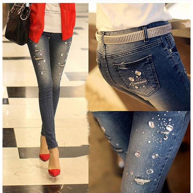 2016 новый Осень зима Горный Хрусталь Бисером Джинсы женщина разорвал отверстие джинсы женские брюки джинсовые брюки карандаш женские брюки G0504