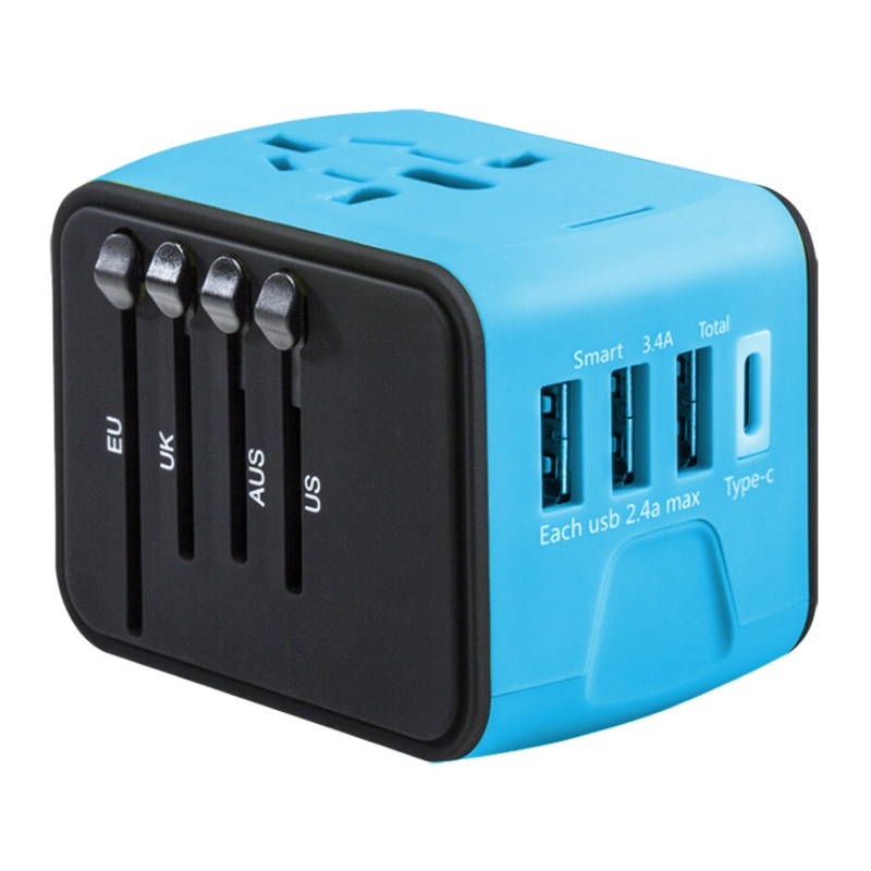 Portable Universal 4 USB Part Travel Charger Adapter Worldwide Electrical Socket US UK EU AU Adaptor International Travel Plug