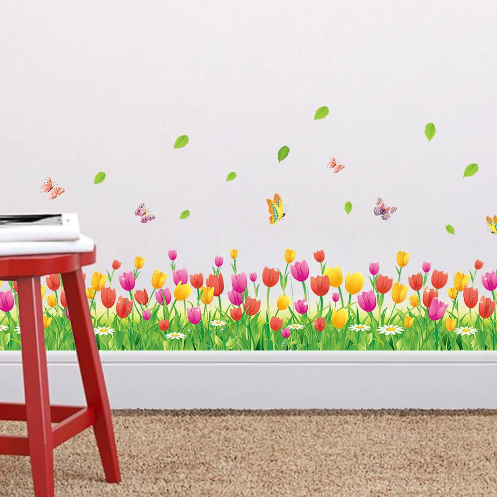 popular tulip wall decor buy cheap tulip wall decor lots from baseboard wall stickers tulip garden style living room bedroom wall decoration stickers china mainland