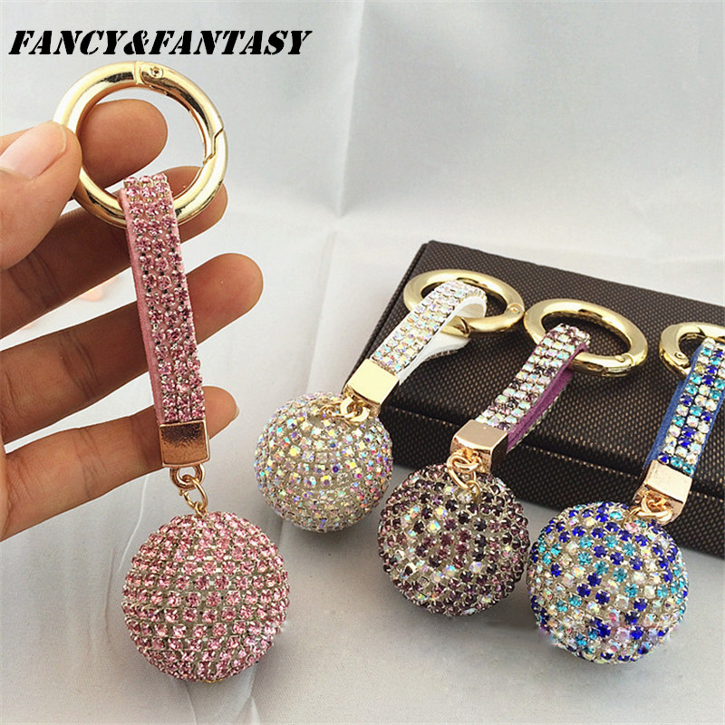 Fancy&Fantasy New Strass Rhinestone High Quality Leather Strap Crystal Ball Car Keychain Charm Pendant Key Ring For Women(China)