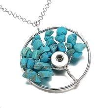 99bc62e5696c Árbol de la vida 276 gargantilla collar cabido 12 MM 18mm Snap botón COLLAR  COLGANTE cristal Piedra Natural joyería mujeres rega.