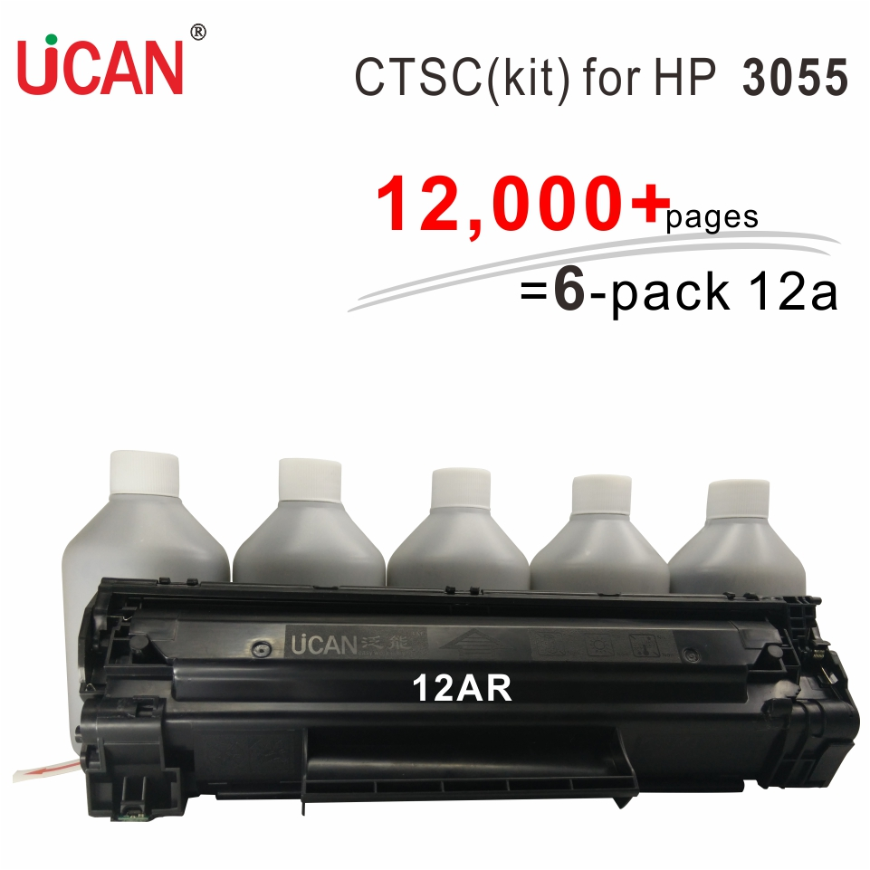 for Hp Laserjet 3055 12a Toner UCAN CTSC(kit) 12,000 pages equal to 6-Pack Q2612a toner cartridge for hp laserjet pro mfp m128fn m128fp m128fw printer ucan 83ar kit 12 000 pages equal to 8 pack cf283a 83a toner cartridges