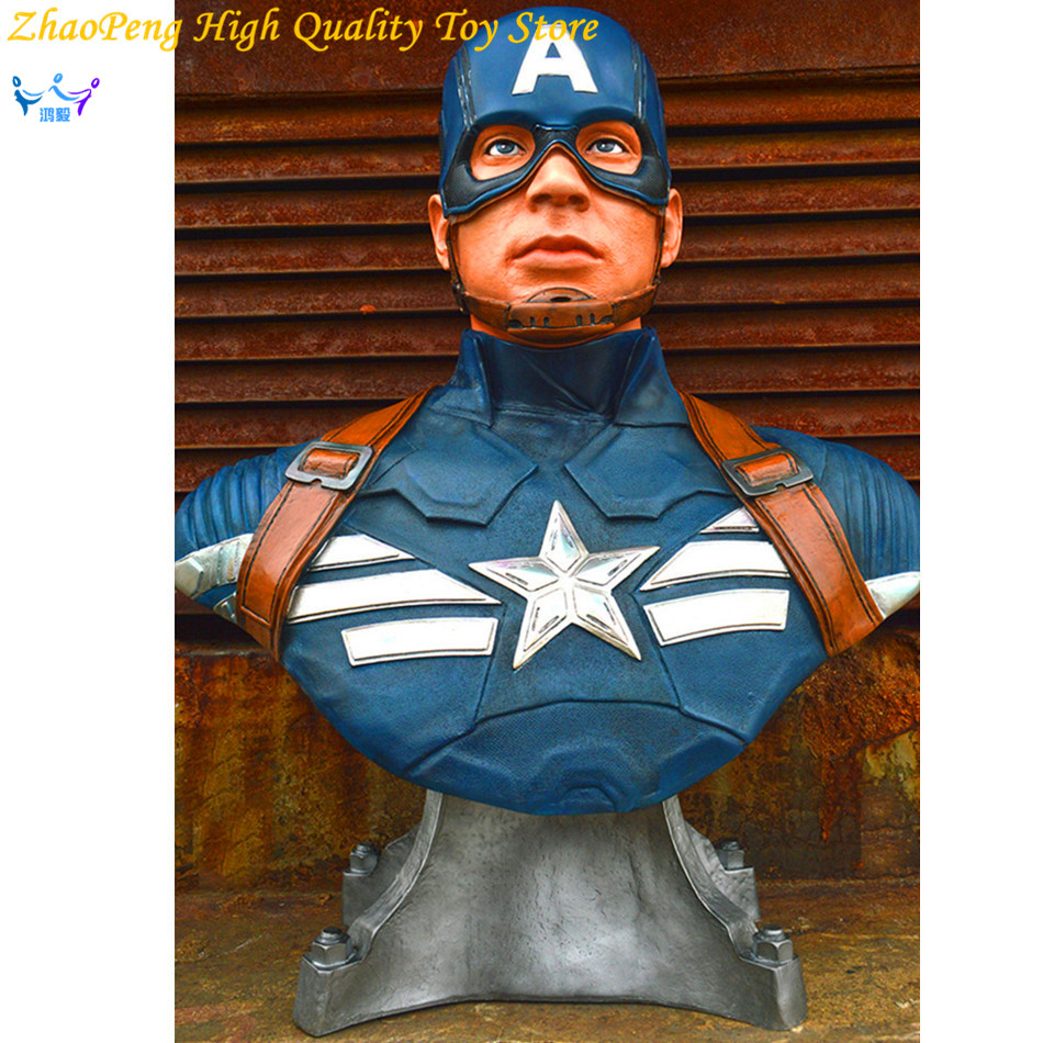 Anime Civil War Action Figures Captain America Statue Avengers Bust Collection Model Toy civil war battleship the monitor level 4