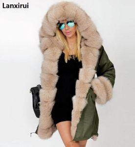 Image 4 - Plus size S 5XL casaco de inverno nova moda feminina com capuz casaco de pele do falso algodão velo feminino parkas hoodies casaco longo
